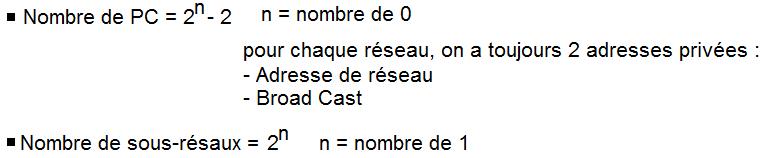 Nombre de PC / Nombre de sous-réseaux